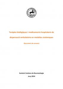 Portada Document consens BIOLÒGICS 2014_Societat Catalana de Reumatologia