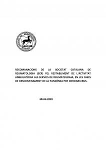 Portada Recomanacions restabliment activitat ambulatòria als serveis de reumatologia_covid19_Societat Catalana de Reumatologia